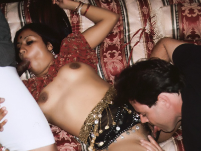 Excited indian beauty. Indian beauty Mumtaz got her cunt eaten while gulp a cock in this steamy threesome session