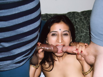 Kinky indian three way sex. Naughty Indian Gupet goes for a threesome and got her mouth and pussy simultaneously drilled with wangs